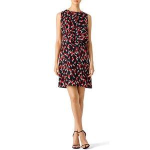 Marni Red Rose Bud Print Crepe Sleeveless Shift Mini Dress IT 40 US 4 NWT